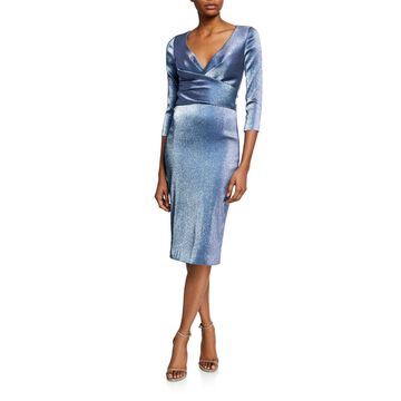 Metallic V-Neck 3/4-Sleeve Cocktail Dress