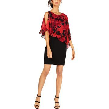 Connected Apparel Womens 2-in-1 Cape Sleeves Party Dress