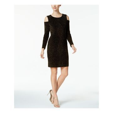 CONNECTED APPAREL Womens Gold Cold Shoulder Glitter Long Sleeve Jewel Neck Above The Knee Sheath Party Dress Petites Size: 8