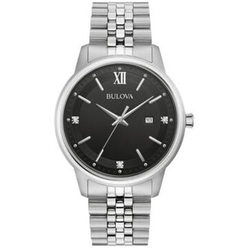 Bulova Men's Diamond Accent Stainless Steel Bracelet Watch 41mm