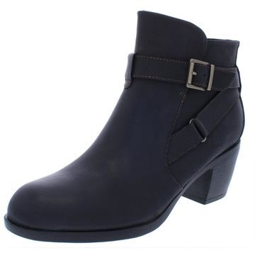 B.O.C. Womens Shea Leather Block Heel Booties