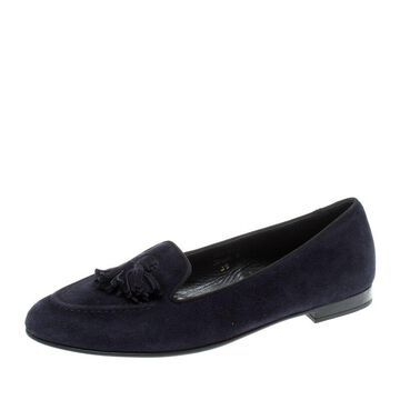 Church'S Navy Blue Suede Nina Tassel Loafers Size 38