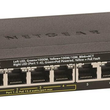 NETGEAR 8-Port Gigabit Ethernet Unmanaged PoE Switch (GS308P) - with 4 x PoE ...