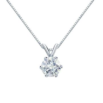Auriya Round Solitaire Moissanite Necklace 1 1/2ctw 6-prong Basket 18k Gold - 7.4 mm (White)
