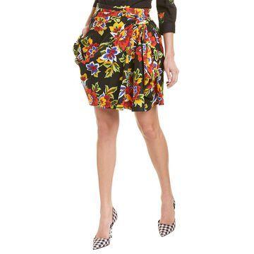 Carolina Herrera Dramatic Front Drape Silk-Blend Mini Skirt