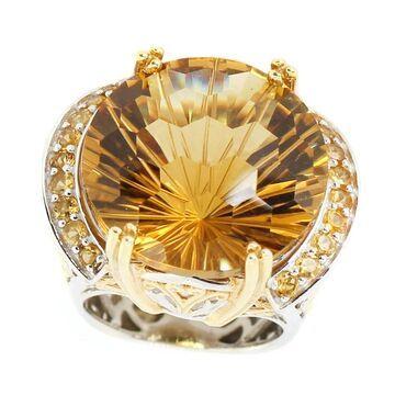 Michael Valitutti Palladium Silver Honeycomb Cut Citrine Cocktail Ring