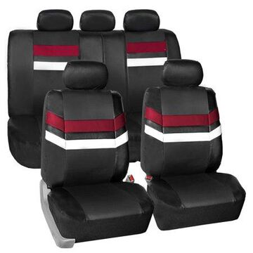 FH Group Varsity Spirit PU Leather Universal Fit Burgundy Car Seat Covers