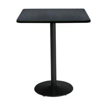 "KFI Mode Square Bistro Breakroom Table, Round Base (30"" W x 30"" D x 42"" H - Graphite Nebula)"