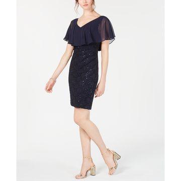 Petite Chiffon-Overlay Lace Sheath Dress