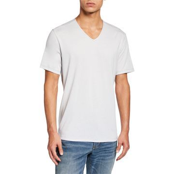 Men's Short-Sleeve V-Neck T-Shirt w/ Contrast Thread Detail
