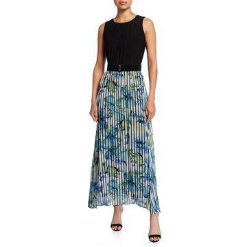 Floral Pleated Sleeveless Combo Maxi Dress