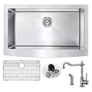 ANZZI Elysian Farmhouse 32 In. Single Bowl Kitchen Sink w/ Locke Fauce