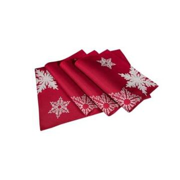 """Xia Home Fashions Glisten Snowflake Embroidered Christmas Placemats, 14"""" x 20"""", Set of 4"""
