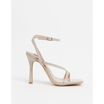 London Rebel strappy square toe heeled sandals in beige