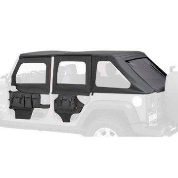 Bestop 51805-35 Jeep Wrangler 2- or 4-Door Highrock 4X4 Element Front Doors Upper Fabric Half-Door Set, Black Diamond