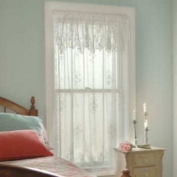 Heritage Lace Tea Rose 84-Inch Rod Pocket Window Curtain Panel in White