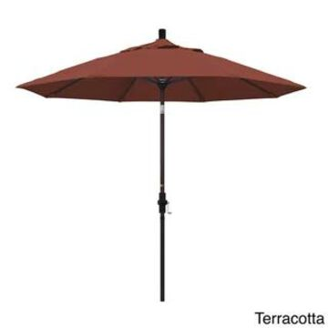 California Umbrella 9' Rd. Aluminum Market Umbrella, Deluxe Crank Lift with Collar Tilt, Bronze Frame Finish, Olefin Fabric