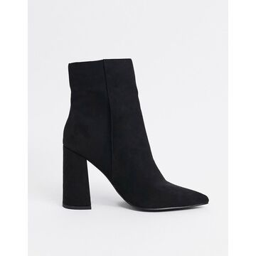 London Rebel pointed heeled ankle boots in black