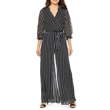 Danny & Nicole 3/4 Sleeve Belted Jumpsuit