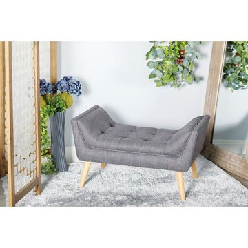 Contemporary U-shaped Gray Tufted Bench by Studio 350