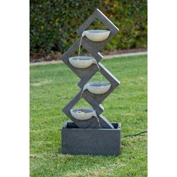 Alpine Calming Zen Four Tiered Wallfall Fountain, 40 Inch Tall