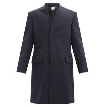 Maison Margiela - Cavalry Collarless Virgin-wool Coat - Mens - Navy