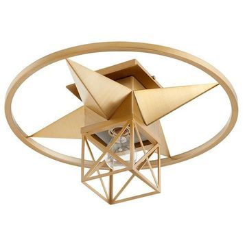 Quorum Transitional 17 inch Ceiling Light in Aged Brass