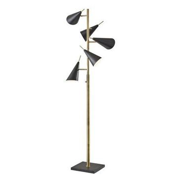 Adesso Owen Tree Lamp, Antique Brass and Black