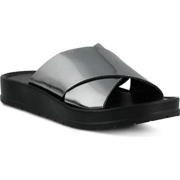 Azura Women's Zyna Wedge Slide Sandal Pewter Synthetic