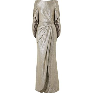 Talbot Runhof - Socrates Cape-effect Draped Metallic Stretch-jersey Gown - Gold