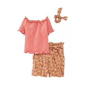 Beautees Girls' Girls 7-16 Smocked Pucker Top With Shorts And Scrunchie Set - -
