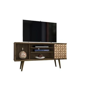 Manhattan Comfort Liberty Rustic Brown and 3d Brown Prints TV Stand