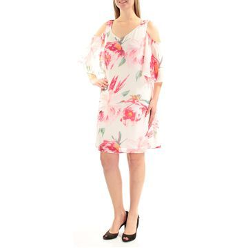 CONNECTED APPAREL Womens Ivory Cut Out Floral Short Sleeve Jewel Neck Above The Knee Dress Size: 8