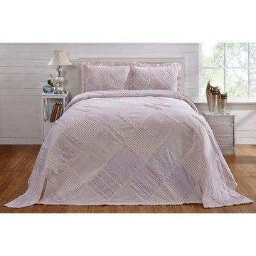 Better Trends Ruffled Chenille Bedspread Queen, Pink