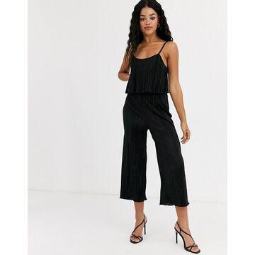 Miss Selfridge plisse jumpsuit in black