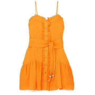 Lisa Marie Fernandez - Ruffled Linen-blend Gauze Dress - Saffron