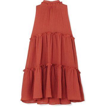 Lisa Marie Fernandez - Erica Ruffled Tiered Linen-blend Mini Dress - Papaya