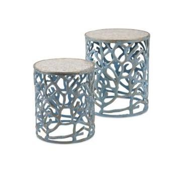Imax Coral Mother of Pearl Tables - Set of 2