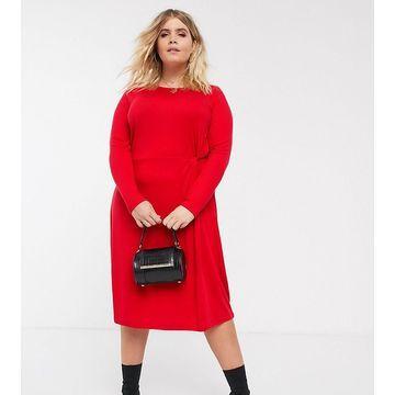 Junarose gather front dress-Red