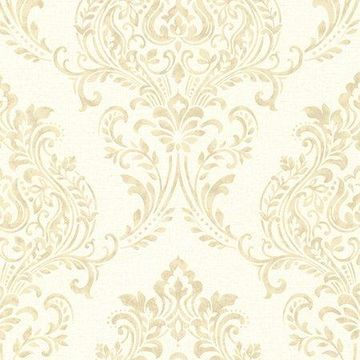 Brewster Damask Beige Corway Wallpaper