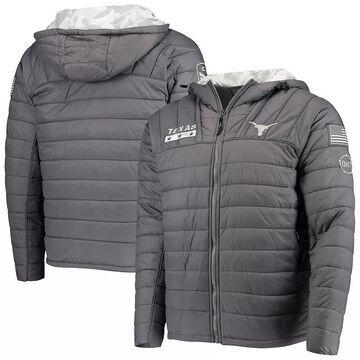 Men's Colosseum Gray/Camo Texas Longhorns OHT Military Appreciation Iceman Snow Puffer Full-Zip Hoodie Jacket, Size: Medium, TEX Grey
