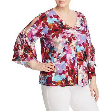 Cupio Womens Plus Floral Cold Shoulder Blouse