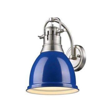 Golden Lighting Duncan - Wall Sconce, Shade Options: Blue Glass