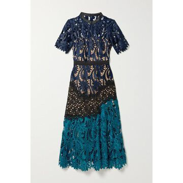 Self-Portrait - Satin And Grosgrain-trimmed Paneled Guipure Lace Midi Dress - Midnight blue