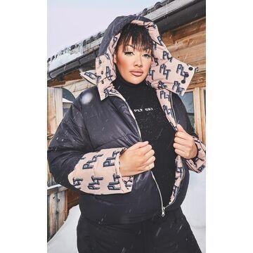 PrettyLittleThingPlus Ski Camel Print Reversible Puffer Coat