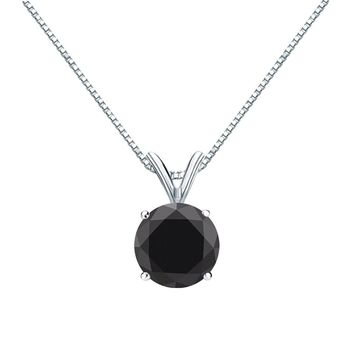 Auriya 2ctw Solitaire Black Diamond Necklace 14k Gold