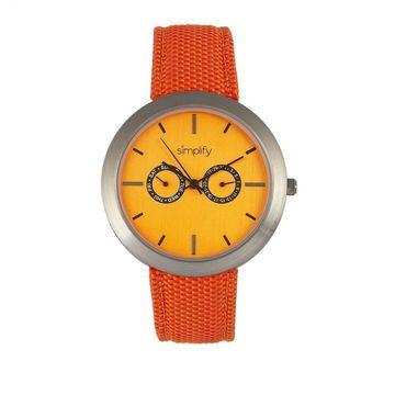 Simplify The 6100 Canvas Overlay Strap Watch - Orange