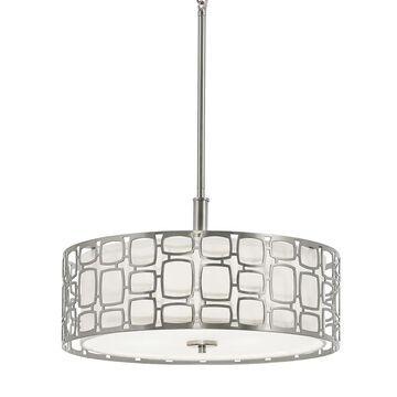 Kichler Sabine Brushed Nickel Modern/Contemporary Etched Glass Drum Medium (10-22-in) Pendant Light | 34709
