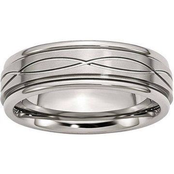 Primal Steel Stainless Steel Polished/Brushed Criss-Cross Design 7mm Ridged Edge Band