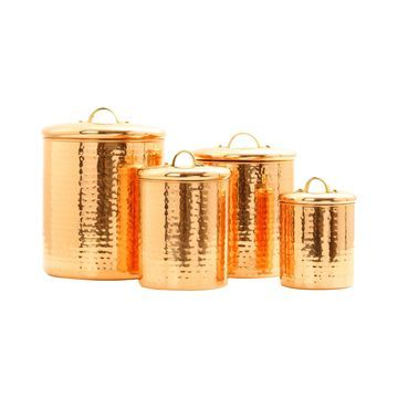 Old Dutch International 4-pc. Decor Hammered Copper Canister Set